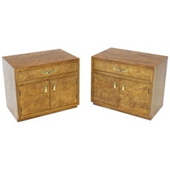 Pair of Light Burl Wood Campaign Nightstands Bed Tables Brass Hardware