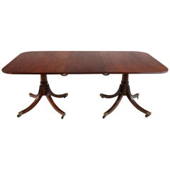 Regency Style Solid Mahogany Twin Pillar Dining Table/Pair Side Tables, Seats 8