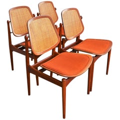 Set of 4 Arne Vodder 1950s Teak and Cane Dining Chairs for France & Daverkosen