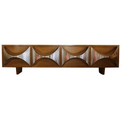Pair of 1970s Chrome Accented Walnut Credenzas by Raphael