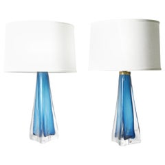 Pair of Turquoise Triangular Orrefors Lamp, Sweden, 1960
