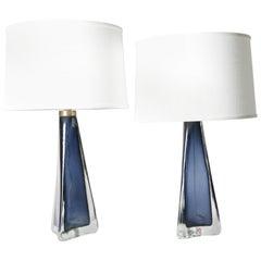 Pair of Aqua Blue Triangular Orrefors Lamps, Sweden, 1960
