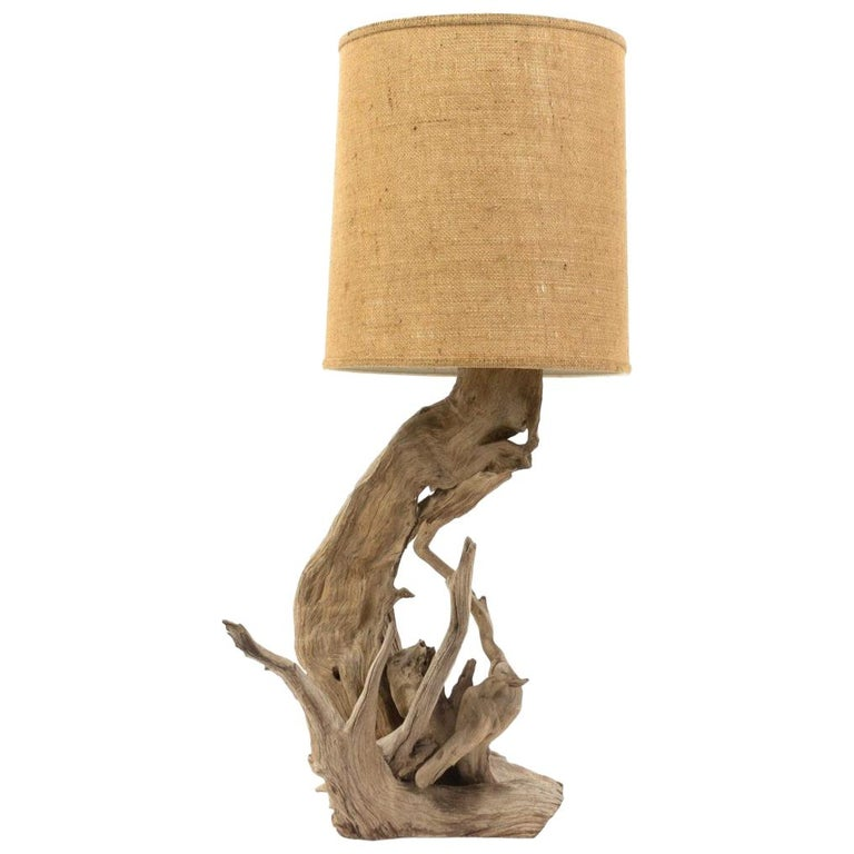 Vintage Driftwood Lamp with Original Burlap Shade For Sale