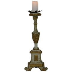 Small Gilded Italian 18th Century Neoclassical Wooden Candlestick