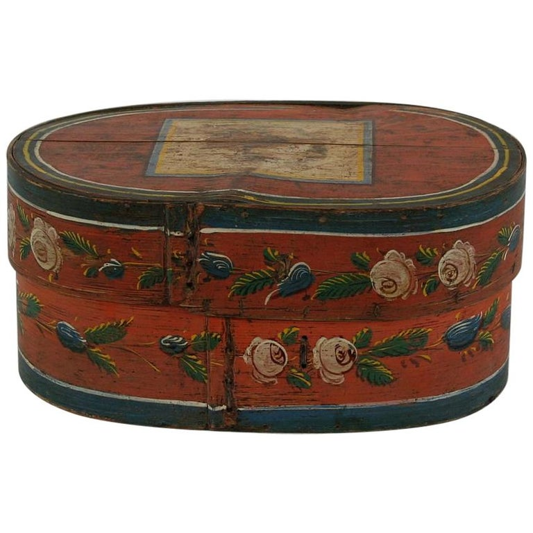 19th Century Dutch Folk Art Painted Bentwood Box