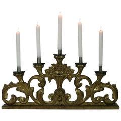 Spätes 18. Jahrhundert, Italienischer Kerzenhalter Geschnitztes Vergoldetes Holz Barock