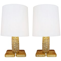 Pair of Brutalist Table Lamps Luciano Frigerio for Frigerio, Italy, 1970s