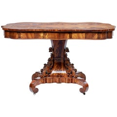 19th Century Danish Flame Mahogany Centre Table