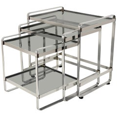 Set of Three Nesting Tables in Aluminum and Smoked Glass, Italy, 1970s End Table