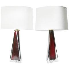 Pair of Dark Red Triangular Orrefors Lamp, Sweden, 1950