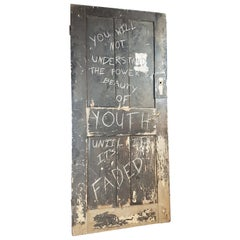 19th Century Painted Graffiti Art Door