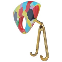 Coat Hanger Made of Multicolored Plastic and Brass, Italy, 1950s