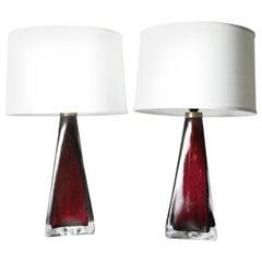 Triangular Pair of Dark Red Orrefors Lamp, Sweden, 1950