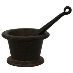 18th Century French Cast Iron Mortar