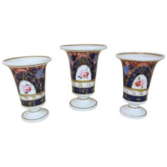 Garniture of 3 Spode Porcelain Vases Decorated with Blue Ground and Roses