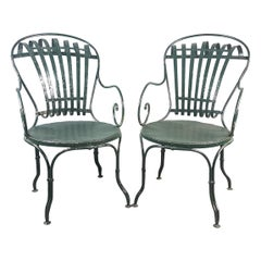 Pair of Green Francois Carre Chairs Designed by Le Corbusier