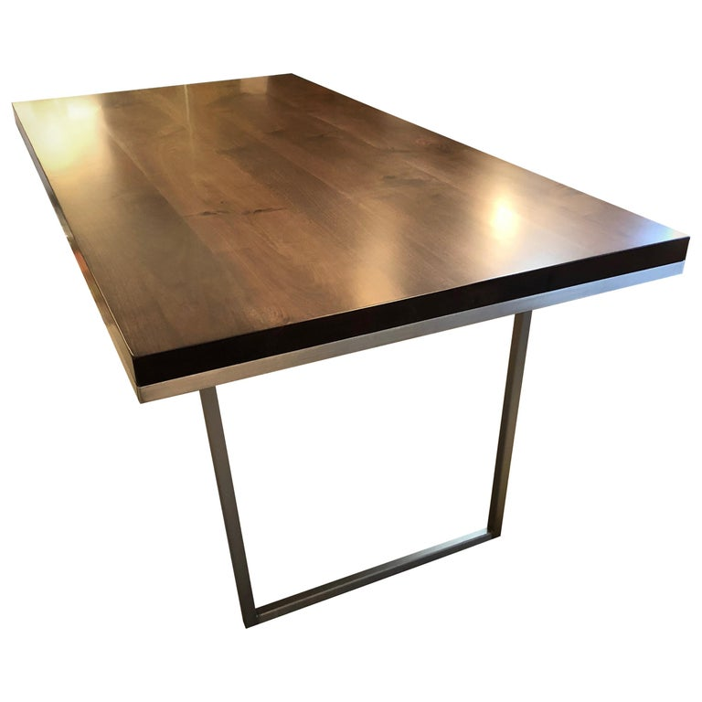 Sleek Modern Walnut Dining Table With Stainless Steel Legs For
