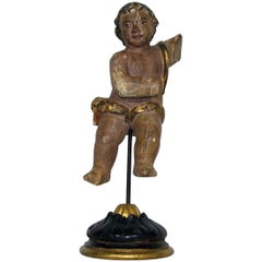 Small 18th Century, Italian Baroque Carved Wooden Angel