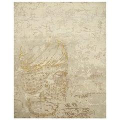 Elegant Achaemenid Modern Design Area Rug Beige Hand Knotted Wool Silk