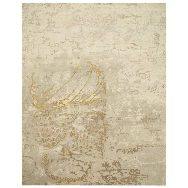 Elegant Achaemenid Modern Design Area Rug Beige Hand Knotted Wool Silk For Sale