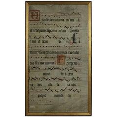 Large Framed 17th Century Italian Vellum Book Page, Handwriting