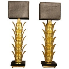 Pair of Toll Yellow Murano Glass Table Lamps