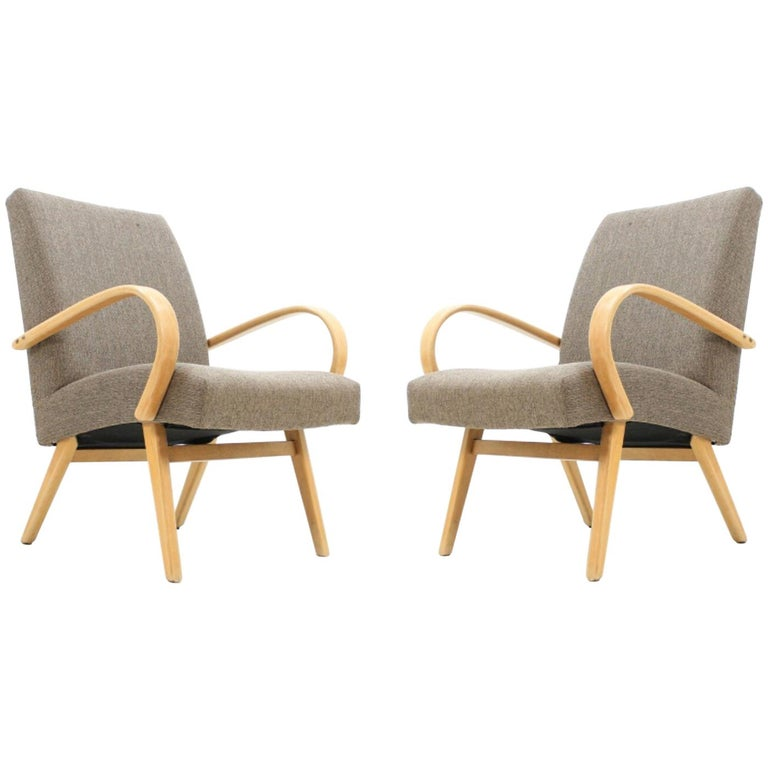 Pair of Jindřich Halabala Armchairs, 1960s