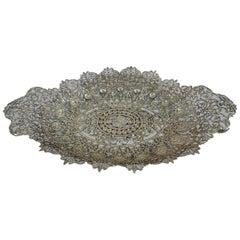 Unusual and Fantastic Silver Gilt Filigree Bread Tray by Shiebler