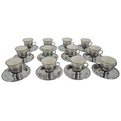 Set of 12 Tiffany Edwardian Sterling Silver Demitasse Holders with Lenox Liners