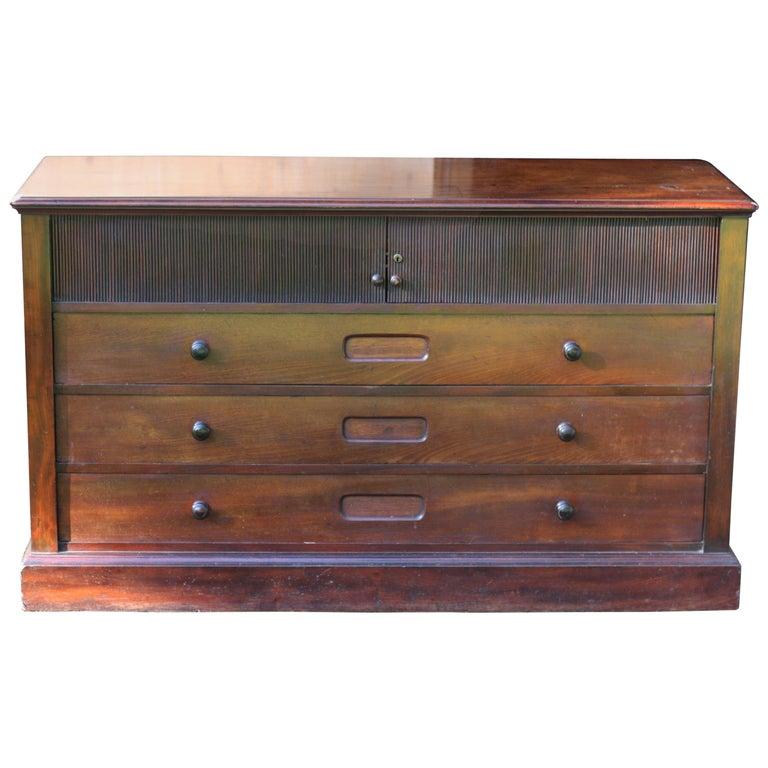 Unusual English Georgian Gentleman's Mahogany Dresser Unit
