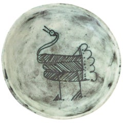 French Ceramic Artist Jacques Blin Sgraffito Decorated Ceramic Footed Bowl