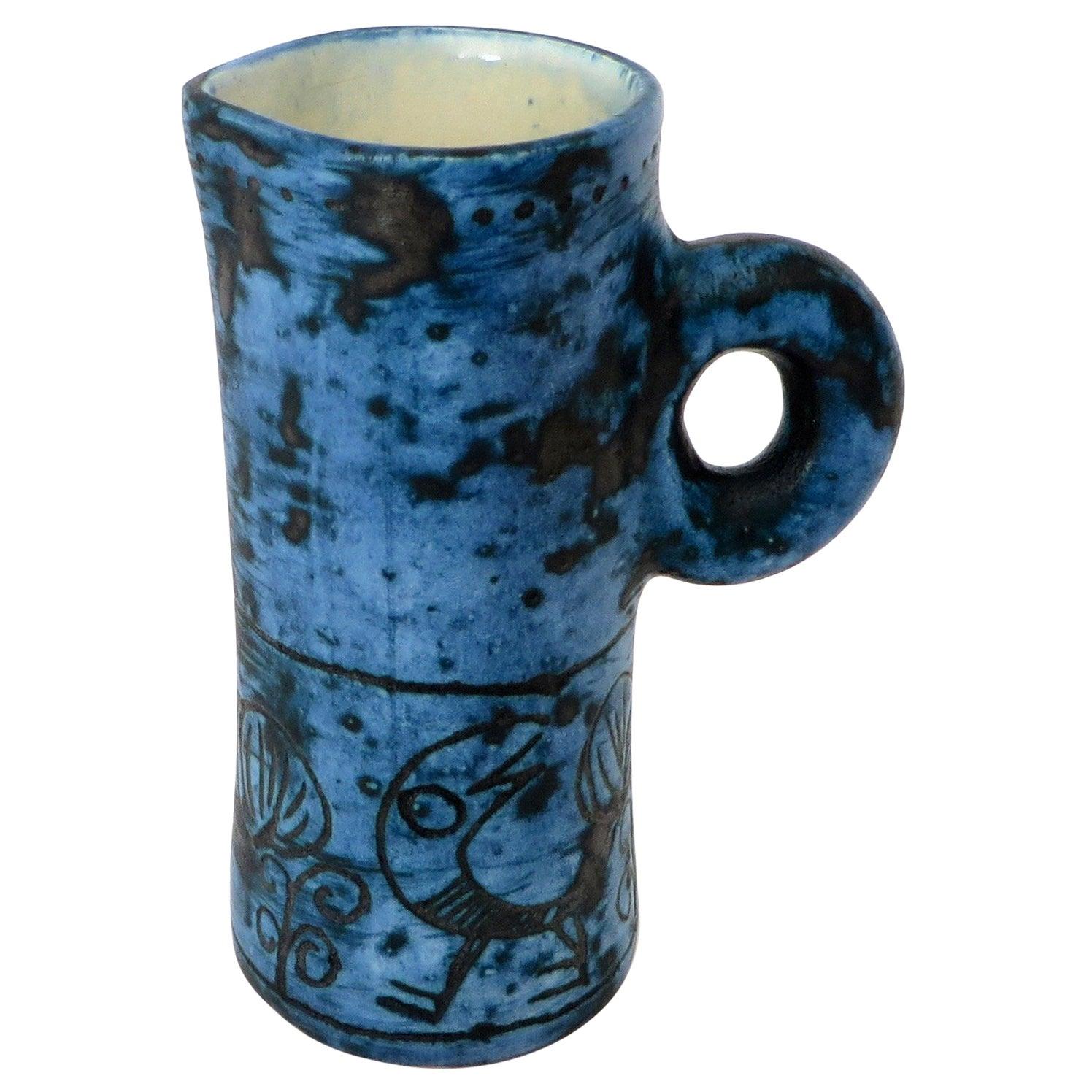 French Ceramic Artist Jacques Blin Dark Blue Sgraffito Ceramic Vase with Handle