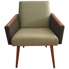 Mid-Century Modern Lounge Armchair in Olive, 1970s