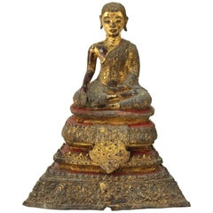 Thai Rattanakosin Period Gilt Bronze Buddha