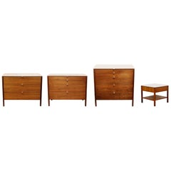 Mid-Century Modern Florence Knoll Bedroom Set of 3 Dressers and Nightstand