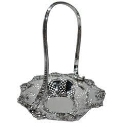 Pretty Edwardian Sterling Silver Rosebud Basket by Tiffany & co.