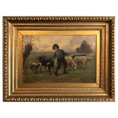 Boy Shephard Oil on Canvas Painting, England