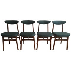 Midcentury Dining Chairs by Rajmund Halas in Green, 1960s, Set of 4