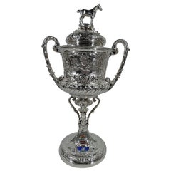 Large Antique English Sterling Silver Fox Hunting Trophy with Horse Finial