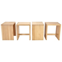 Vintage Set of Four Stools or Side Tables in the Style of Max Bill, 1970s