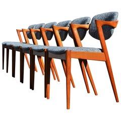 """Set 6 Danish Modern Kai Kristainsen Teak Model 42 """"Z"""" Dining Chairs, Gray Tweed"""