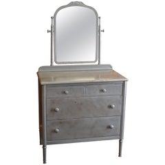 Dresser of Steel with Mirror by Simmons, circa 1930s.