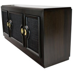Ebonized Mahogany Three Cane Doors Credenza
