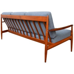 Ultimate Grete Jalk Sofa, Restored, All Teak Frame, Thin Back Slats, 1960s