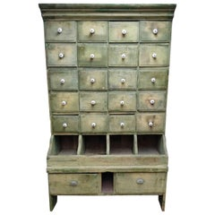 French Multi-Drawer Painted Seed Cabinet, 1910