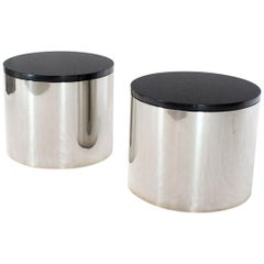 Pair of Polished Stainless Steel Black Granite Tops Drum End Occasional Tables