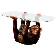 Figural Sergio Bustamante Monkey Glass-Top Hourglass Coffee Table, 1970s
