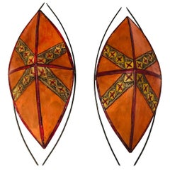 African Tribal Art Mask Parchment Wall Shade Sconces