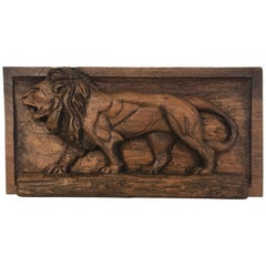 Carved Folk Art Relief Plaque of a Lion