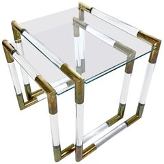 Midcentury Lucite & Brass Nesting Tables by Charles Hollis Jones, 1970s, USA